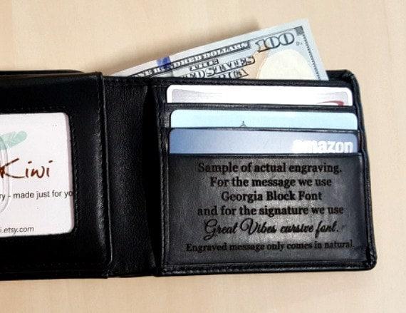 Men's custom leather wallet Men's personalized