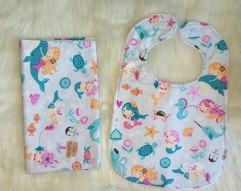 Mermaid baby bib and burp cloth, Gift set, Flannel baby bib and burp cloth, Terry cloth baby bib