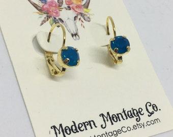 Swarovski Caribbean Blue Opal 6mm Drop Earring