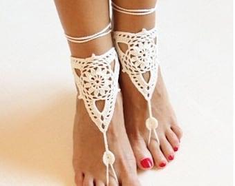 Sandals of crochet-Crochet anklets-Sandals boho-Sandals barefoot-ankle of crochet-Toes Crochet Sandals-Hippe sandals