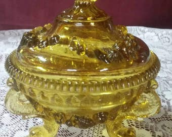 Amber footed France Portieux Vallerysthal dolphins serpents candy dish