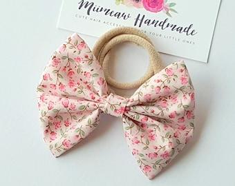 Fabric Bow Headband - hair Clip - Nylon Headband - Pink garden bow