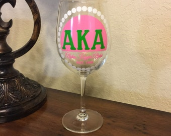 Alpha Kappa Alpha Sorority: Wine Glass