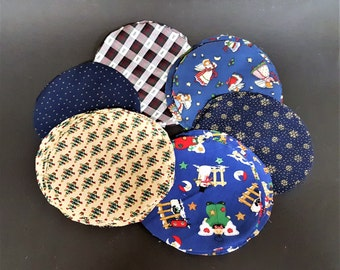 Christmas Fabric Cut Rounds Eight and One Quarter Inches Jar Covers Stuffed Christmas Tree Crafts Collage Crafts Motifs for Miniature Items