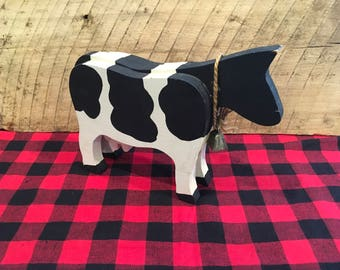 Vintage Wood Cow , Holestein , Dairy Cow , Wooden , Black and White , Farm Decor , Country Decoration ,
