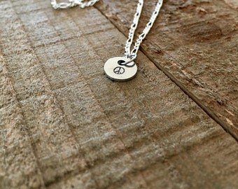 "Peace sign necklace- Peace necklace-peace sign jewelry-dainty 3/8"" hand-stamped necklace-gift"