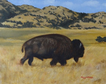 Lone Bison art print 11x14