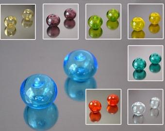 Hollow round bead 1 pc, 7colors, handmade lampwork beads, round glass beads, lampwork glass round beads, hollow glass beads, sra beads