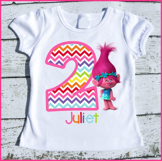 Custom Personalized Super Cute Trolls Poppy  tee shirt Chevron