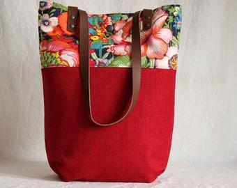 Shoulder bag with leather handles, shopper, Tote, bag, red, floral
