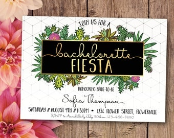 Bachelorette fiesta invitation, bachelorette invitation, hens fiesta, hens invitation, white, gold, fiesta, Mexican, geometric (Sofia)