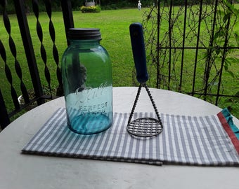 Vintage Wire Potato Masher,Used Rustic Old Blue Wooden Handle