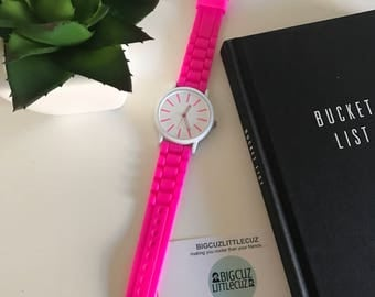 Bright Magenta & White Large Face Watch