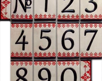 Handmade Ceramic House Numbers and letters RED DOLLS - small size