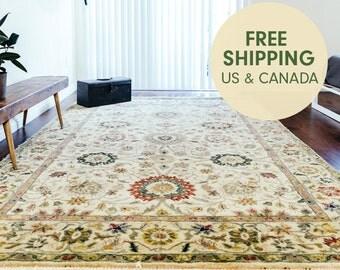 6x9 Vintage Rug - Large vintage rug Floral rug Area rug Wool rug Hand Knotted Rug Bedroom rug FREE SHIPPING - Victoria-zhh1