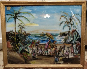 Victorian reverse painted glass  1890s Spanish, Christopher Columbus discovering Jamaica or Haiti? Arabs discovering Africa? Painting ships*