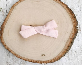 Light Pink Bow - School Girl Bows - Baby Bow - Toddler Clip - Baby Headband - Handmade Bow- Pigtail Set