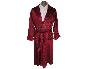 Vintage 1950s Red Satin Dressing Gown by Tulipe Buildings Pattern Mens Lounging Robe Size M