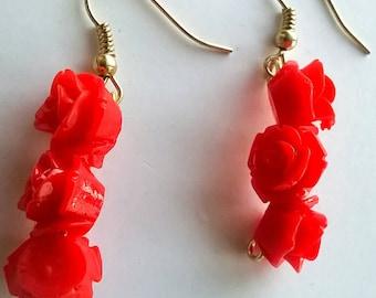 Renetta's Red Roses Earrings