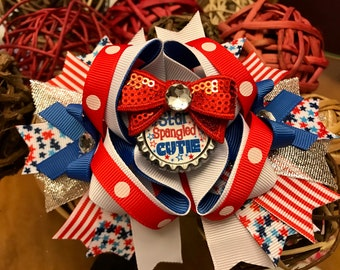 Girls 4th of July bow big fourth of july bow girls over the top bows 6 inch Fourth of July bow Fourth of July outfit 4th of July bow to