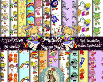 Rainbow Brite Digital Paper Pack, Rainbow Brite Dress, 80s, Scrapbook Paper, Digital Paper, Digital Scrapbooking, Scrapbook Pages
