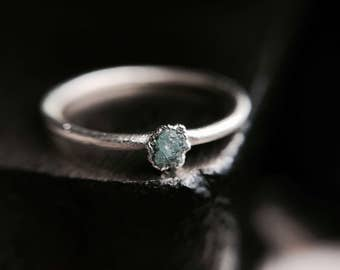 Raw Blue Diamond Ring. Raw Diamond Ring. Raw Diamond Engagement Ring.