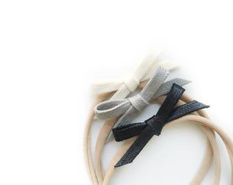 Dandelion>> hand-tied monochrome bows | baby  headband | baby girls hair bow | newborn headband | nylon baby headband