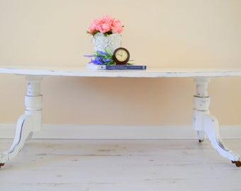 White Coffee Table, Brass Claw Feet, Shabby Chic Coffee Table, Extra Long 144 x 61 cm, Free Local Delivery