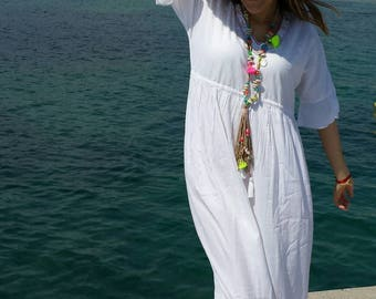 Dress all cotton embroidered tassel