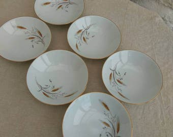 Pretty French Limoges porcelain retro dessert bowls or fruit dishes. Made by M P Samie