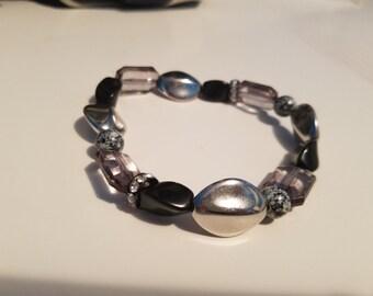 Black and Silver Acrylic Beaded Bracelet