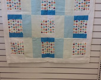 juvenile  sailboat quilt top nursery flannel baby boy shower gift primary colors blanket