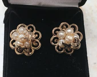 Vintage Art Deco Faux Pearl and Brass Cluster Earrings - converted from clip-on to pierced