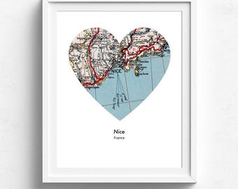 Nice, Vintage Map Print, 8.5 x 11 inches, Wall Decor, Map Art Print, City Print, A4, Home Decor, Wall Map Art