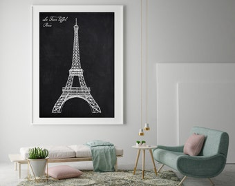 Architecture Print Eiffel Tower Paris France Graphic Art Hand drawn reproduction chalkboard print Black and White Art