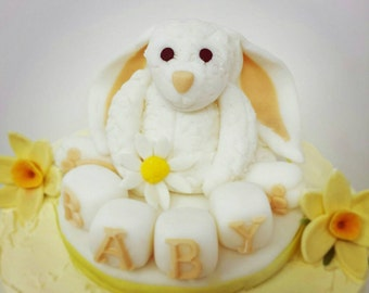 Handmade Fondant Baby Shower Cake Topper