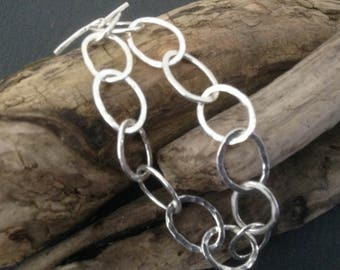 Oval links fine silver bracelet