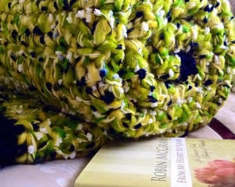 Reduced Shipping to all locations! Crochet Afghans, Large Winter Blanket, Winter Rug, Chunky Golden Yellow Green Black