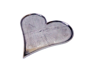heart Shape Tray Solid Metal with Vintage Nickel finish