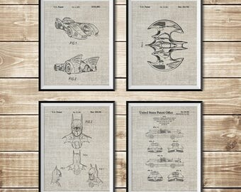 Batman Printable, Patent Print Group, Batman Blueprint, Batman Posters, Patent Print Set,Batman Art Posters,Batwing Poster, INSTANT DOWNLOAD