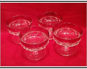 Set of 4 Tiffin-Franciscan Kings Crown Ruby Flashed Champagne/Tall Sherbets