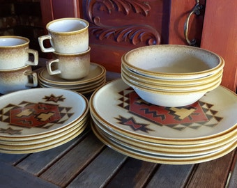 Vintage Mikasa StyleKraft c0906 c0900 Trading Post Pattern Set for 4 / Dinnerware vintage Mikasa first nations