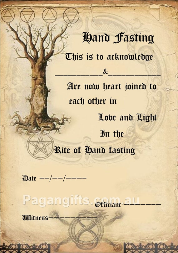 Handfasting certificate wedding marriage parchment wicca pagan