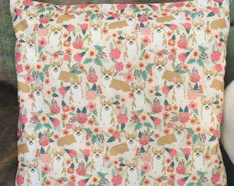 Floral Corgi pillow cover/case