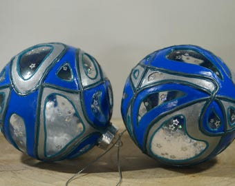 Christmas ball, Blue / silver