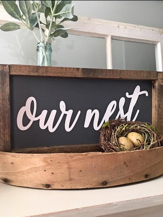 Our Nest Sign, Custom Home Decor, Farmhouse Style Decor, Handwritten Font
