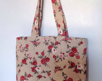 Red Rose Floral and Stripe Tote, Shopping, Beach Bag with Double Pockets and Magnetic Clasp