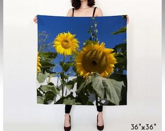 Sunflower Scarf, Flower Scarf, Garden Scarf, Nature Scarf, Happy Scarf, Yellow Scarf, Blue Scarf, Summer Scarf, Autumn Scarf, Chiffon Scarf