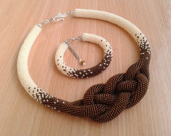 Beaded necklace Set, crochet , statement necklace, Josephine knot, seen bead necklace, black and white necklace, FREE SHIPPING (ol)