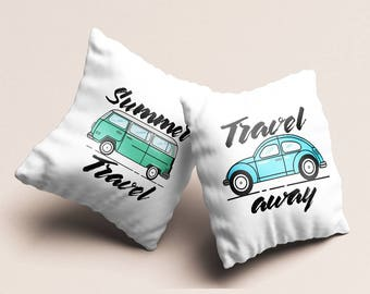 Throw pillow set of 2 RV Travel and adventure designer home decor pillow cases summer inspiration teens room party favors 16x16 pillow PKG17